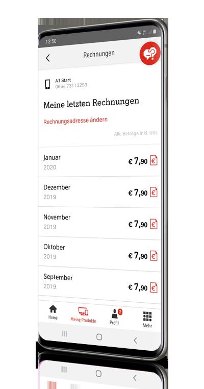 Mein A1 App Kosten und Rechnung