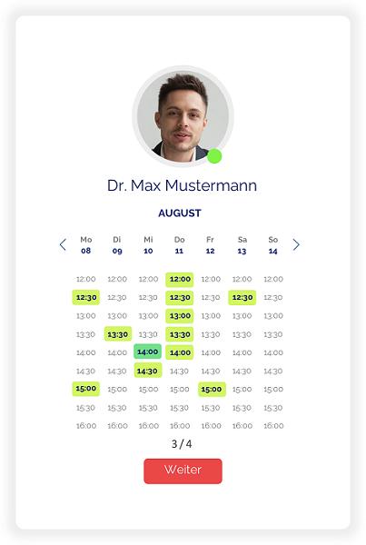 Online Kalender für Terminbuchung