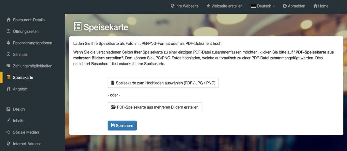 Screenshot DISH Website Builder Menü hochladen