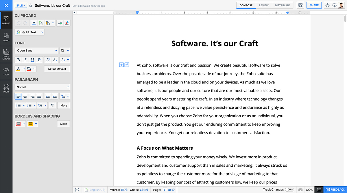 Zoho Writer Screenshot