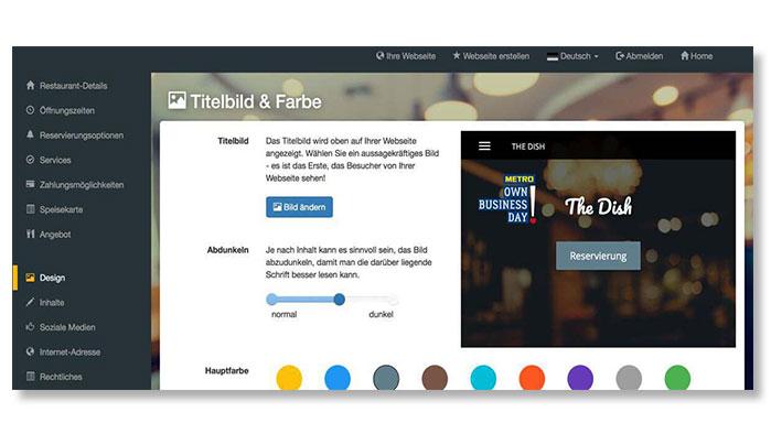 Screenshot DISH Website Builder Designvorlage