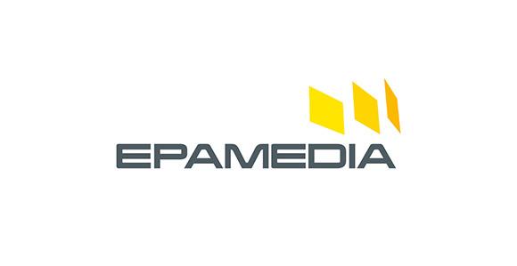der Schriftzug EPAMEDIA in grau; rechts darüber drei verdrehte Rechtecke in unterschiedlichen Gelbtönen; weißer Hintergrund