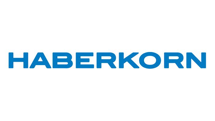blauer Schriftzug Haberkorn auf weißem Hintergrund