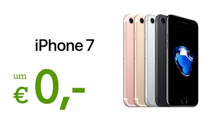 iPhone 7 in verschiedenen Farbvarianten mit Schriftzug: um € 0,-