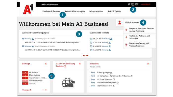 Screenshot von A1 Business Mein A1
