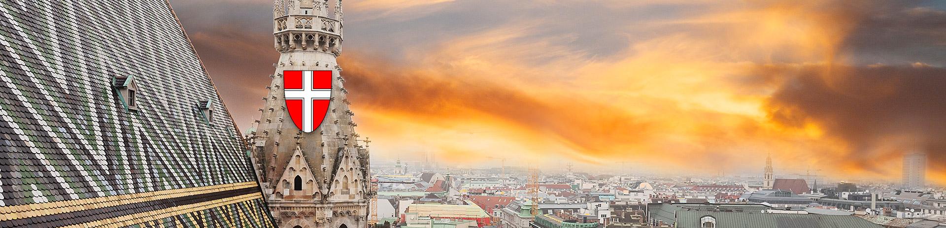 Wiener Stephansdom und Ausblick auf Wien mit Wienwappen