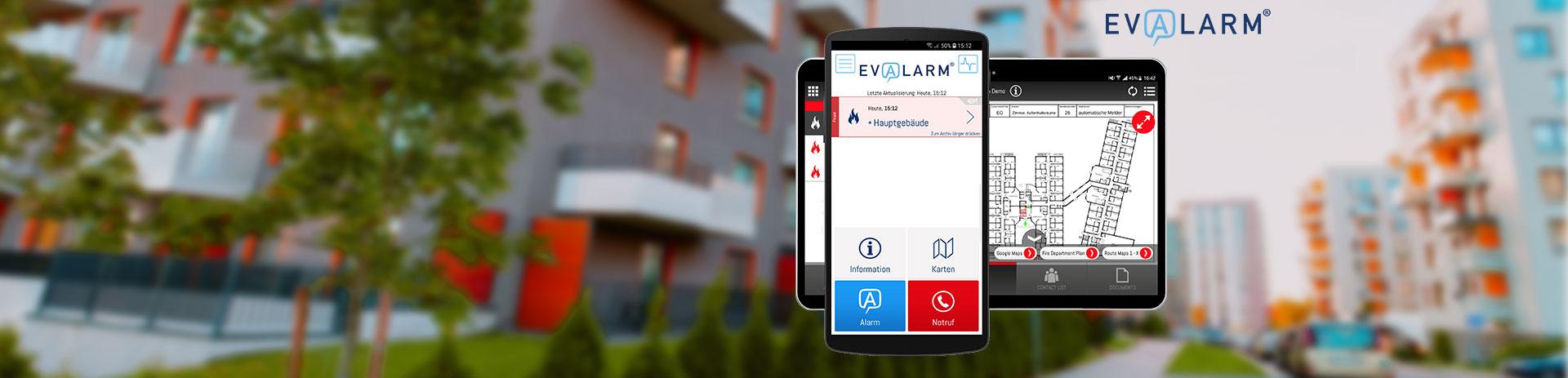 EVALARM App auf Handy und Tablet
