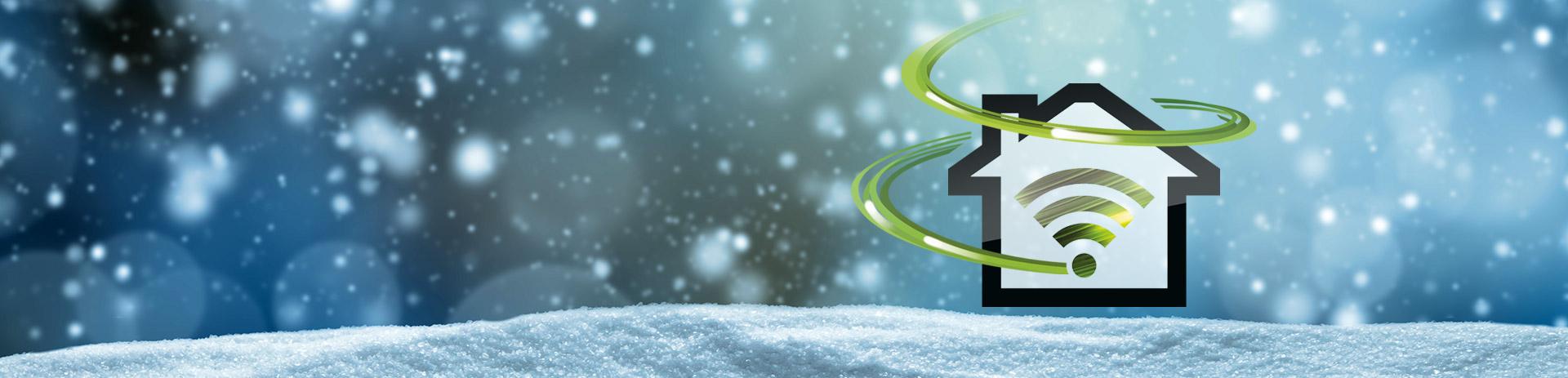 Symbol für Internet Power auf winterlichem Hintergrund
