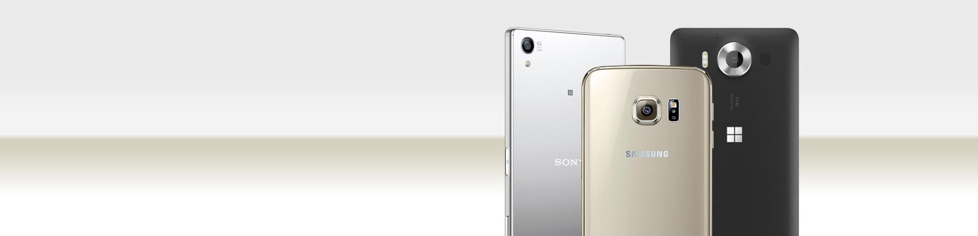 Rückseiten von 3 Smartphones - Sony, Samsung, Windows
