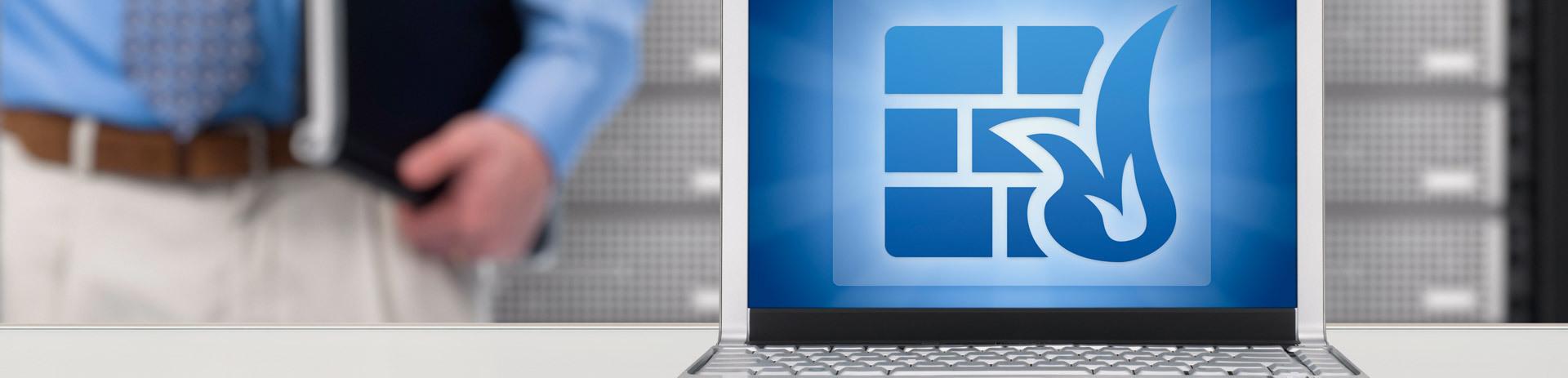 Bildschirm mit Firewall-Logo