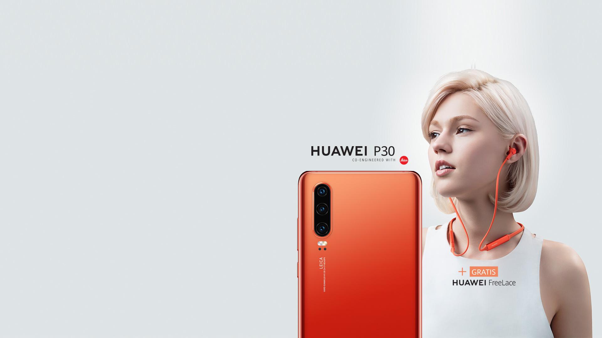 Huawei P30 Amber Sunrise + Huawei FreeLace Kopfhörer