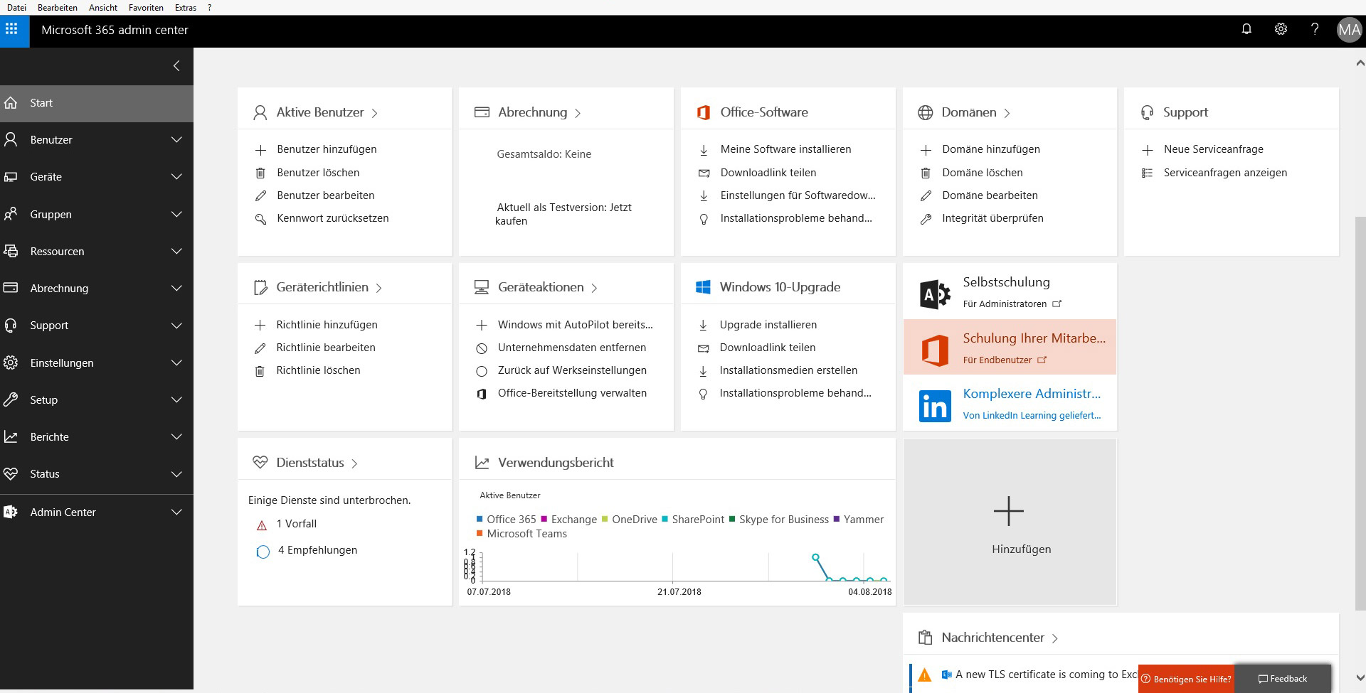 Office 365 Admin Center