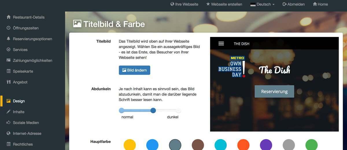 Screenshot DISH Website Builder Designvorlagen