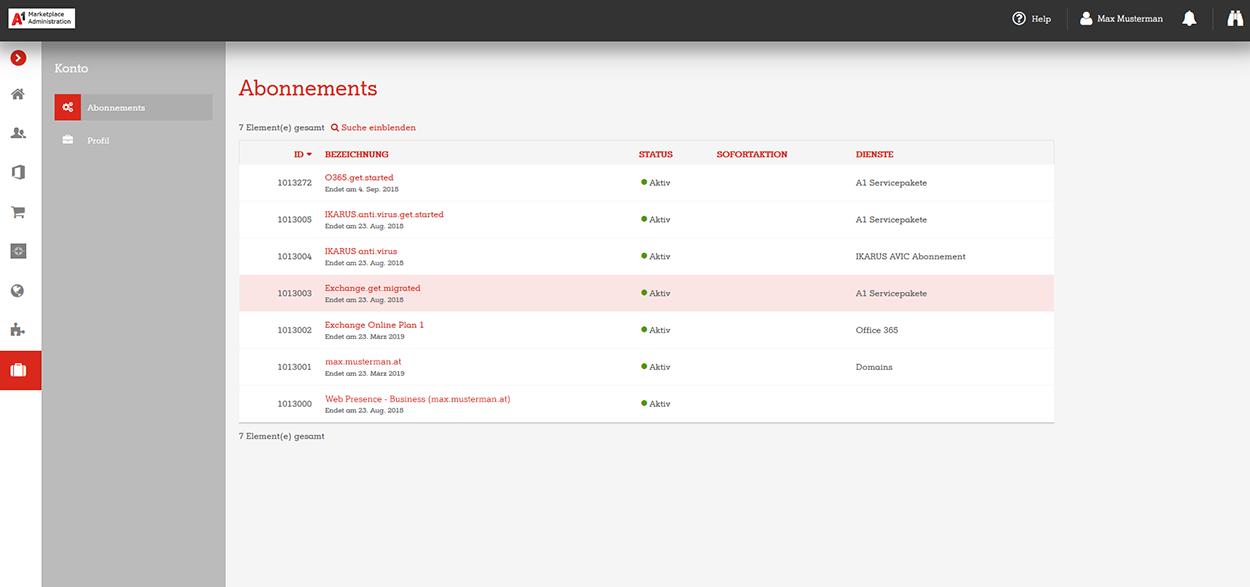 A1 Marketplace Admin Portal Konto