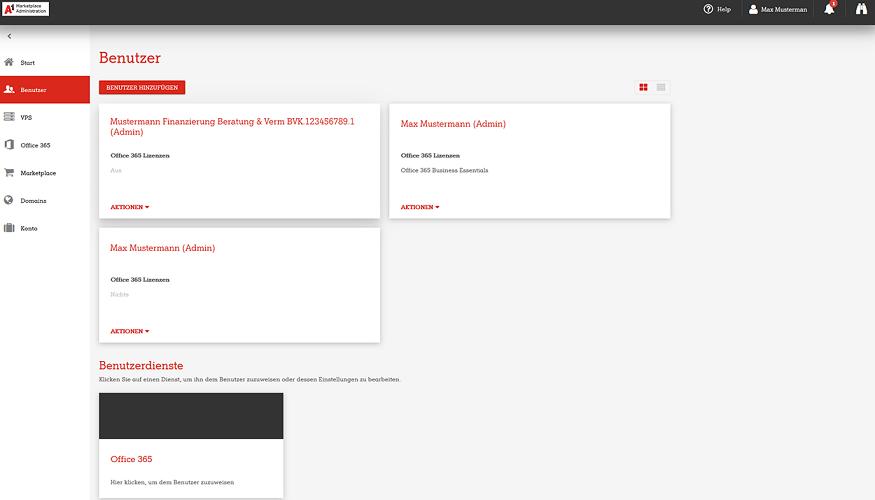 A1 Marketplace Admin Portal Benutzer