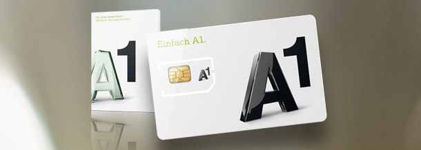 A1 SIM-Karte auf grauem Hintergrund