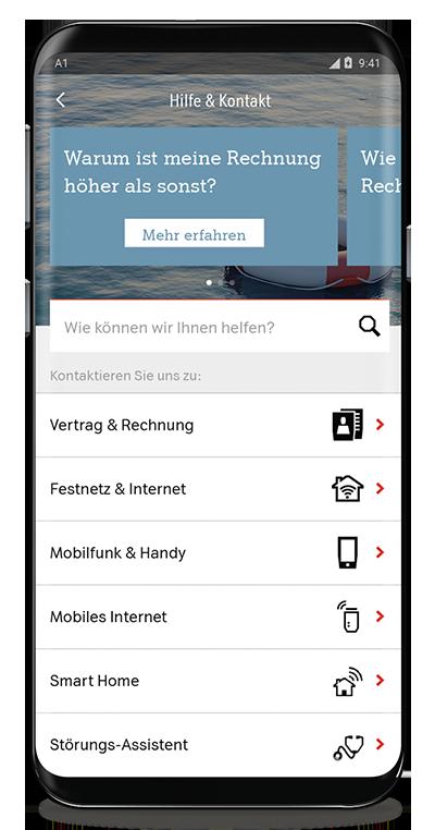 Mein A1 App Support-Bildschirm