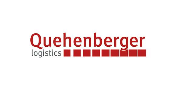 Schriftzug Quehenberger Logistics auf weißem Hintergrund