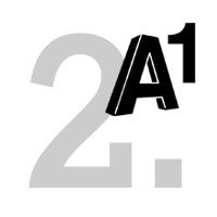 A1 Logo mit der Ziffer 2 im Hintergrund