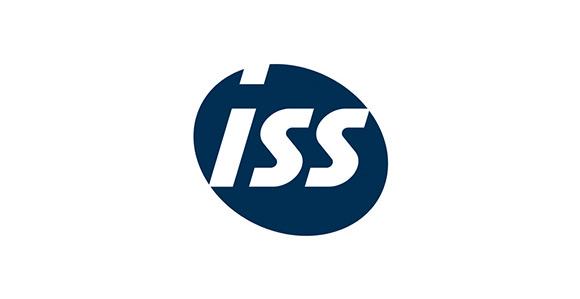 Schriftzug ISS in weiß auf einem blauen Kreis; weißer Hintergrund