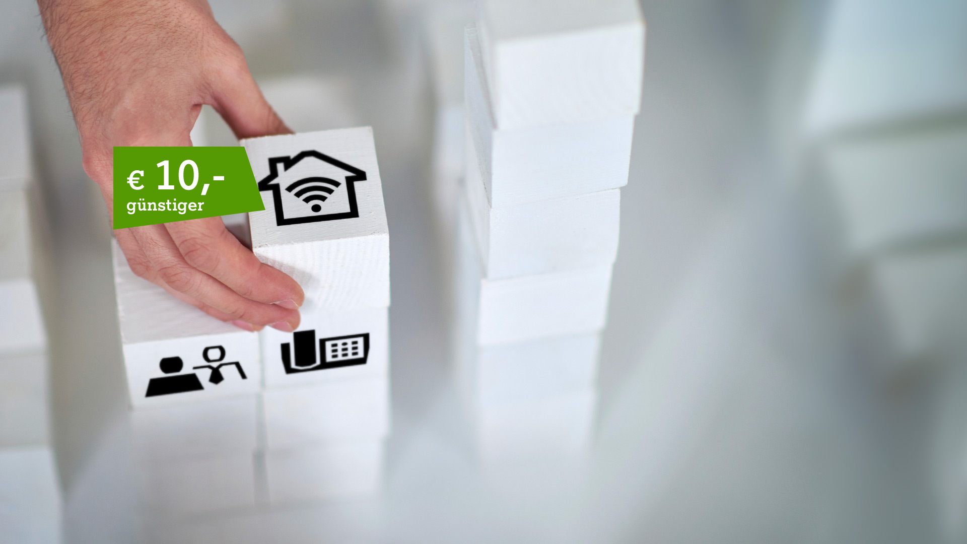 Bausteine mit Internet-Icons und Störer € 10,- günstiger