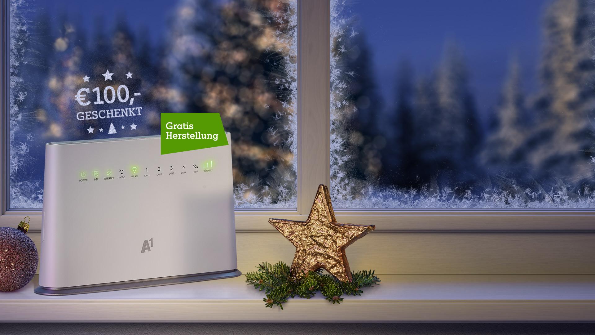 A1 Hybrid Box auf weihnachtlichem Fensterbrett