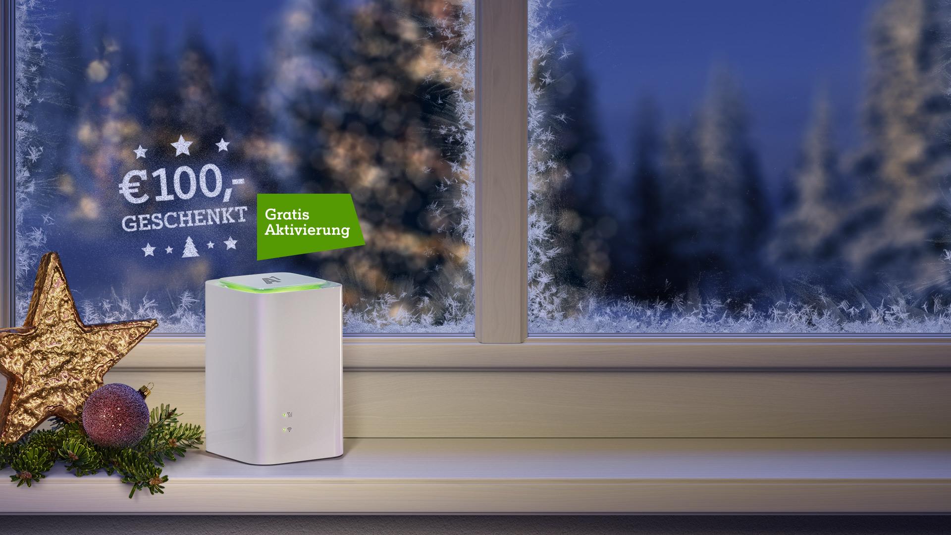A1 Net Cube auf weihnachtlichem Fensterbrett