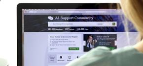 Browserfenster mit offener A1 Community Seite