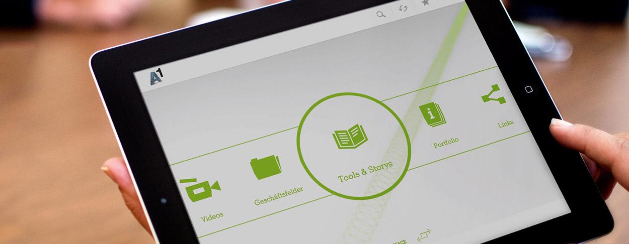 Startseite der BIZAPP mit den Icons zu Geschäftsfelder, Tools & Storys, Portfolio und Links